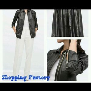 ZARA LAMBSKIN LEATHER ZIPPED JACKET SHIRT SIZE  XS